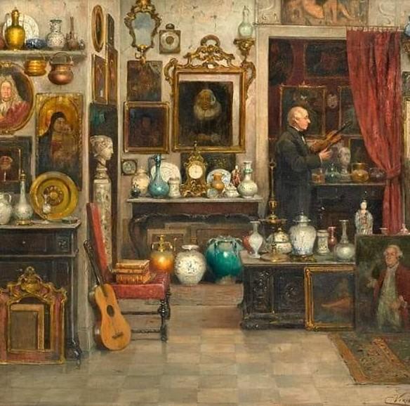 Tableau représentant un antiquaire dans sa boutique.
